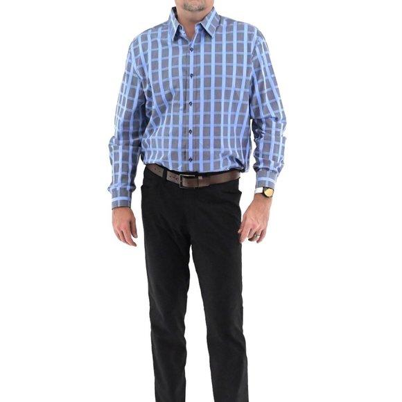 TASSO ELBA Men's Cotton Plaid Collared Shirt #BK12